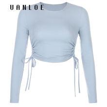 Белые однотонные осенние облегающие топы уличная одежда синие