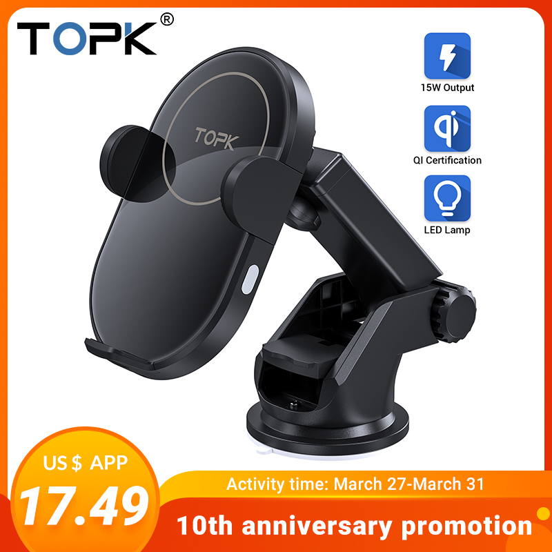 TOPK Wireless Car Charger For IPhone 11 Samsung Xiaomi 15W Induction Car Mount Fast Wireless Charging With Car Phone Holder