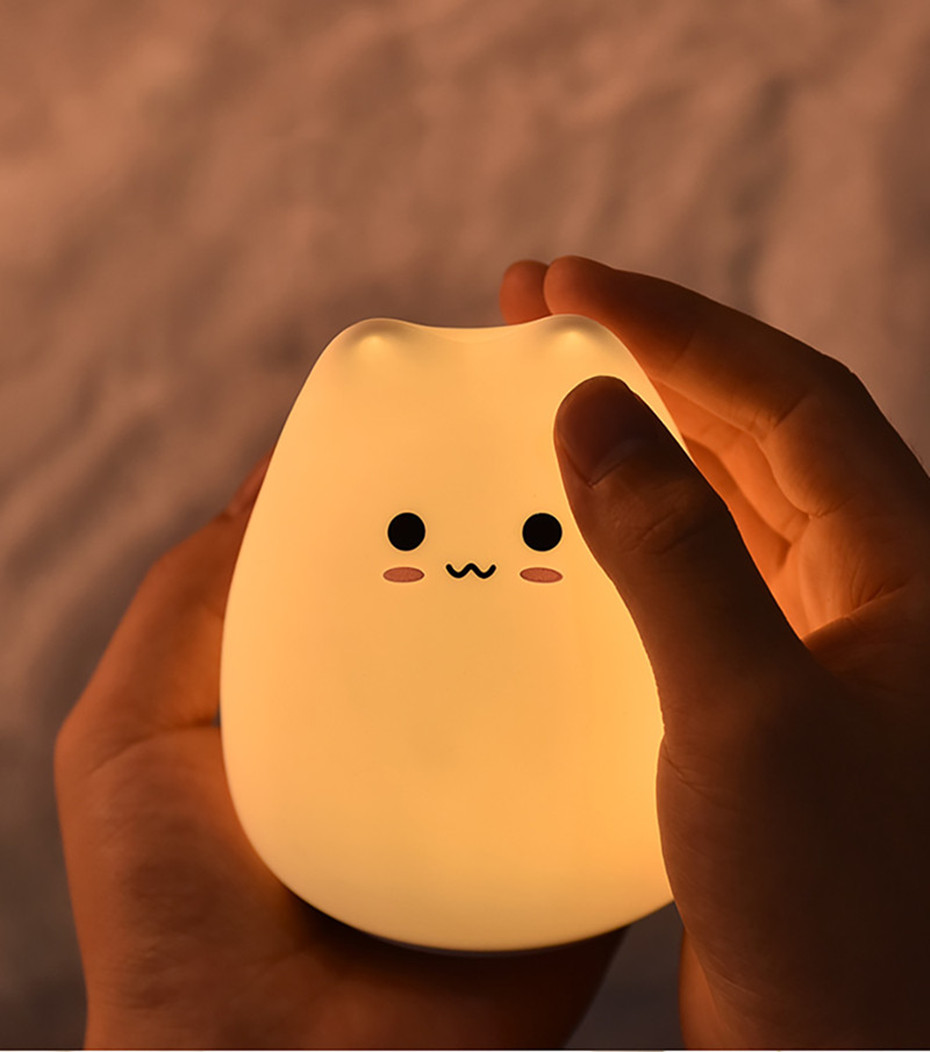 LED Colorful Night Light Animal Cat Silicone Soft Cartoon Baby Child Nursery Lamp For Children Gift Toy