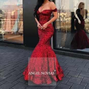 ENGEL NOVIAS Lange Sexy Pailletten Meerjungfrau Rot Burgund Arabisch Dubai Abendkleid 2020 abendkleider lang luxus robe longue