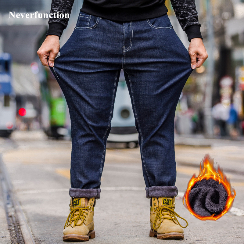 Plus Size 46 48 Men New Winter Thick Velvet Warm Classic Style Business Casual Jeans Fashion Man Straight Denim Trousers