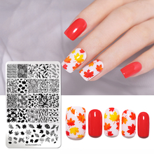 NICOLE DIARY Maple Leaf Nail Art Stamping Plates Snow Flower Plants Image Printing Stamp Template  Art Stencil Tools