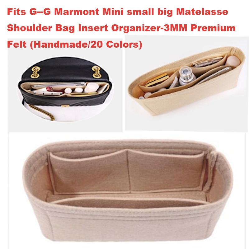 For G--G Marmont Mini Small Large Matelasse Shoulder Bag Insert Organizer-3MM Premium Felt (Handmade/20 Colors)Bag In Bag