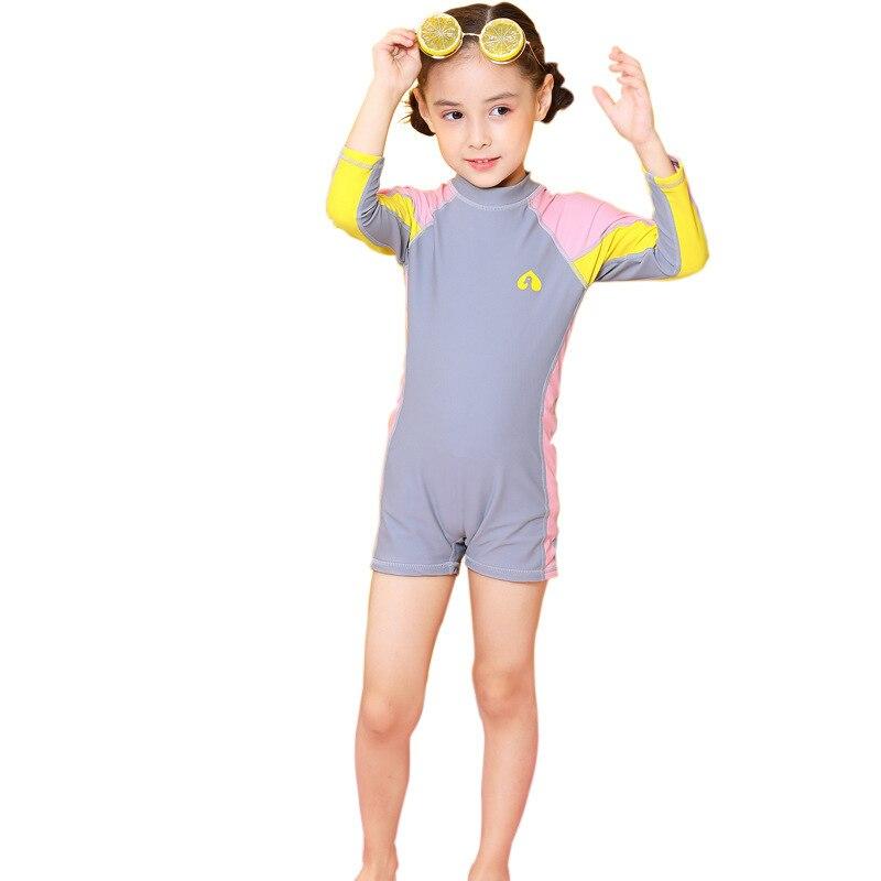 KID'S Swimwear One-piece Long Sleeve Sun-resistant Quick-Dry GIRL'S Bathing Suit Princess Girls Big Boy Beach Swimwear Hair