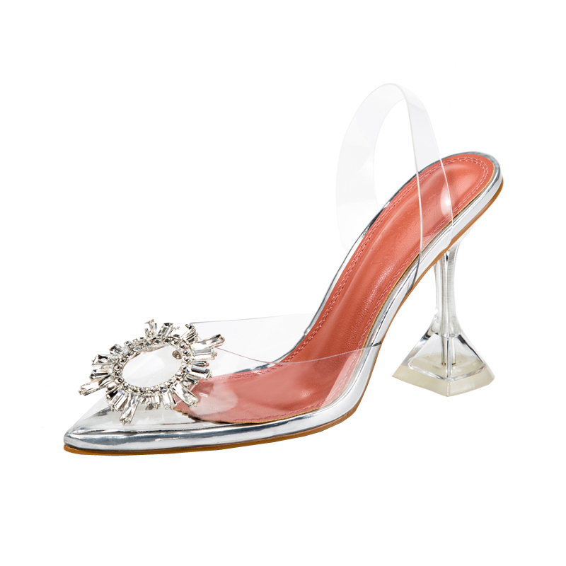 Free shipping hot sale sexy lady clear pvc strass crystal point toe slingback high heels sandals