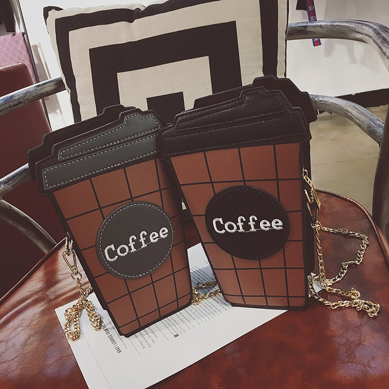 Funny Chains Coffee Cup Women Shoulder Bags Designer Messenger Bag Luxury Pu Leather Cute Crossbody Bag Ladies Chic Small Purses