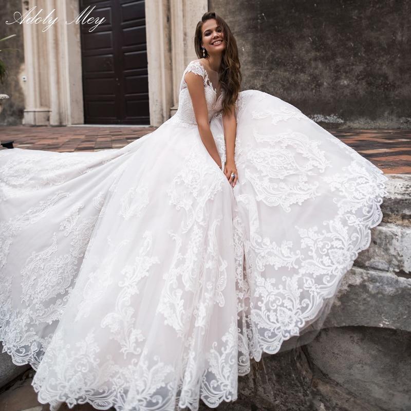 Adoly Mey Glamorous Appliques Court Train A-Line Wedding Dresses 2020 Elegant Scoop Neck Cap Sleeve Vintage Bride Gown Plus Size