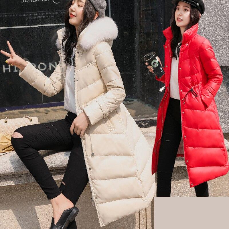 Fashion Women's Down Jacket+large Fox Fur Hooded 2020 Korean Thick Warm Duck Down Coat Female Ladies Long Coat Hiver 1905