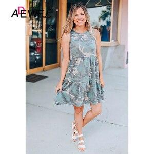 Женское Короткое платье без рукавов ADEWEL, с камуфляжным принтом, без рукавов, с круглым вырезом, лето 2020
