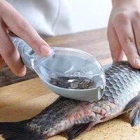 Cepillo de piel de pescado, raspador de escamas de pesca, cuchillo de pescado, pelador para limpieza, raspador con caja, 1 unidad