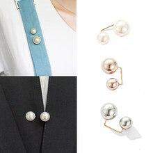Broche à Double perle Simple pour femme, 2 pièces, collier de pull, épingles de sécurité, accessoires pour vêtements