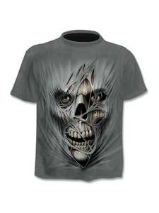 Tees Tshirt Skull Drop-Ship 3d-Printed Asian-Size Punk-Style Men's 6XL Top Gym New