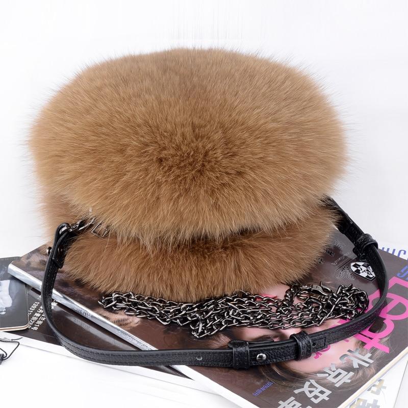 Luxo outono e inverno mulheres ombro saco de cabelo raposa moda senhora redonda saco macio 2019 jovens senhoras crossbody saco feminino - 6