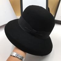 The new black wool Little hat socialite dome fashion basin cap pure color fisherman cap Hepburn hat Fedoras