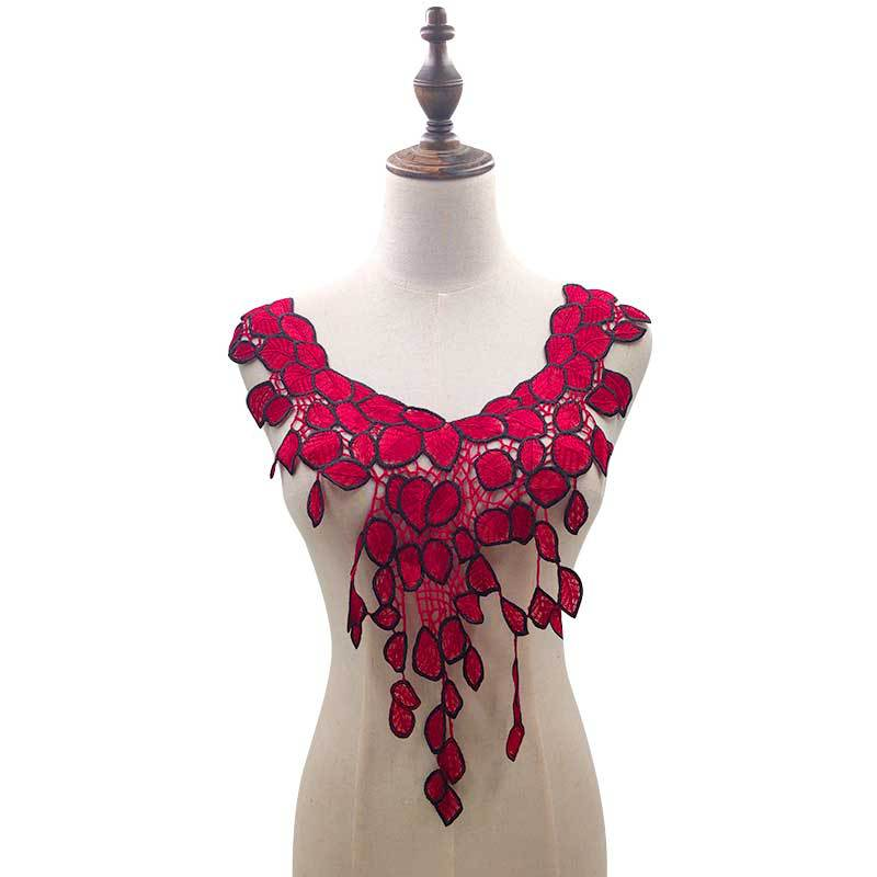 Water-soluble Lace Collar Polyester Embroidery Brooch Heavy Industry Double Color Chest Neck DIY Lace Accessories