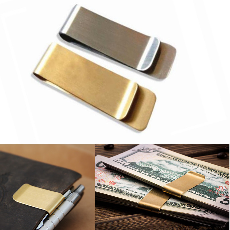 1pc Fashion Stainless Steel Metal Money Clip Simple Silver Dollar Cash Clamp Holder Wallet Purse Pocket men women