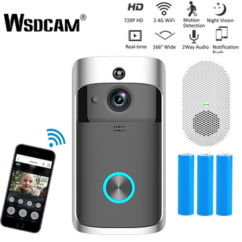 Wsdcam Smart Doorbell Camera Wifi Wireless Call Intercom Video-Eye for Apartments Door Bell Ring for Phone Home Security Cameras