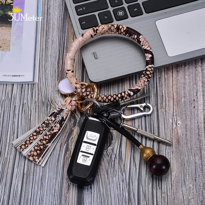 3UMete Wristlet Keychain Bracelet Keyring Leather Tassel Key Chain for Women Girls