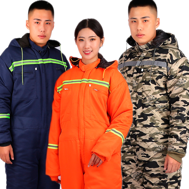 Winter Reflective Hooded Overalls Siamese Long-sleeved Coveralls Workshop Warm Thicken Clothes Dust Proof Anti Fouling Jumpsuits