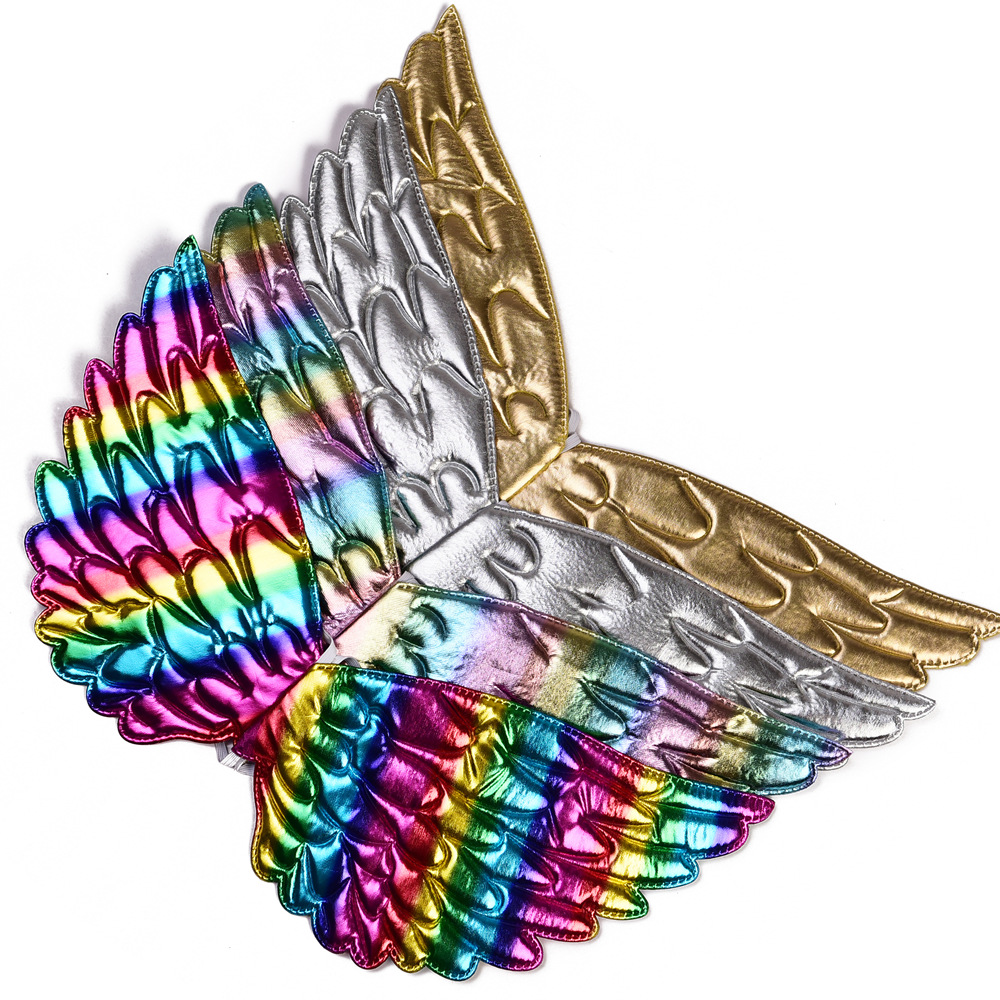 Girls Unicorn Birthday Party Accessories Rainbow Wing Halloween Headband Colorful Wig Kids Vampire Hairband Baby Cosplay Access