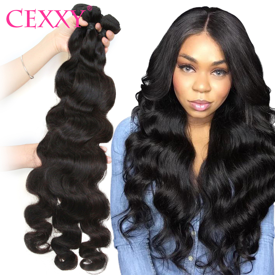 Cexxy cabelo brasileiro onda do corpo pacotes 28 30 comprimento longo 100% tecer cabelo humano 1/3/4 pacotes extensões de cabelo para preto