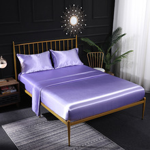 Satin Silk Fitted Sheet Solid Soft Bed Sheets With Pillowcase 4PCS parure lit Bedding Set Bed Cover Set JAJU1009 solid fitted dress with choker