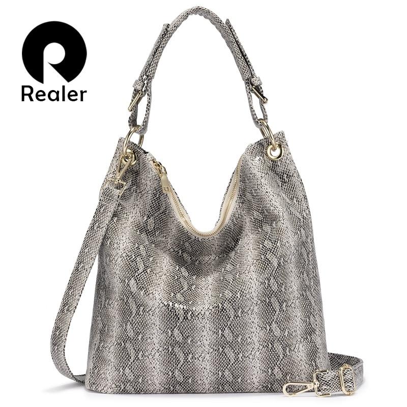 REALER Luxury Handbags Women Bags Designer Serpentine Pattern  Hobos Large Capacity Shoulder Bags Casual Ladies Crossbody Bag