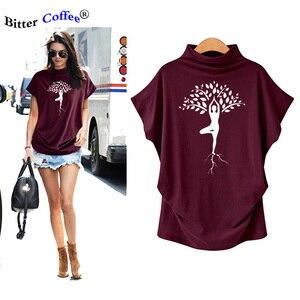 Новые футболки с принтом «дерево для йоги», футболки с короткими рукавами «летучая мышь», хипстерская хлопковая футболка, футболка с графич...