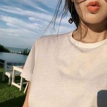 Yvyvlolo za verão camisa feminina inglaterra estilo simples sólido o-pescoço cotton100 % jogo básico harajuku tshirt camisetas verano mujer