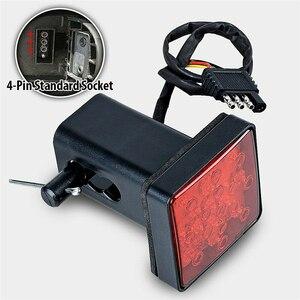 Image 4 - 1 pces 12led/15led caminhão luz de engate reboque traseiro luz de freio parar cauda singal lâmpada com preto vermelho 2 Polegada quadrado receptor padrão