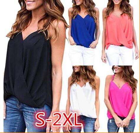 S-2XL AliExpress eBay Amazon Explosion Model Europe and America Sexy Sling Cross Chiffon Shirt Vest Top Women(China)