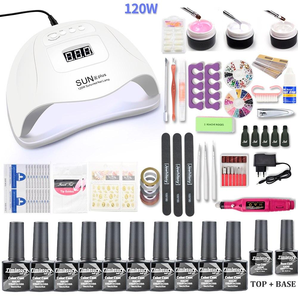 Conjunto de unhas 120 w uv conduziu a lâmpada para manicure gel unha polonês conjunto kit verniz gel elétrica broca do prego manicure conjuntos ferramentas da arte do prego