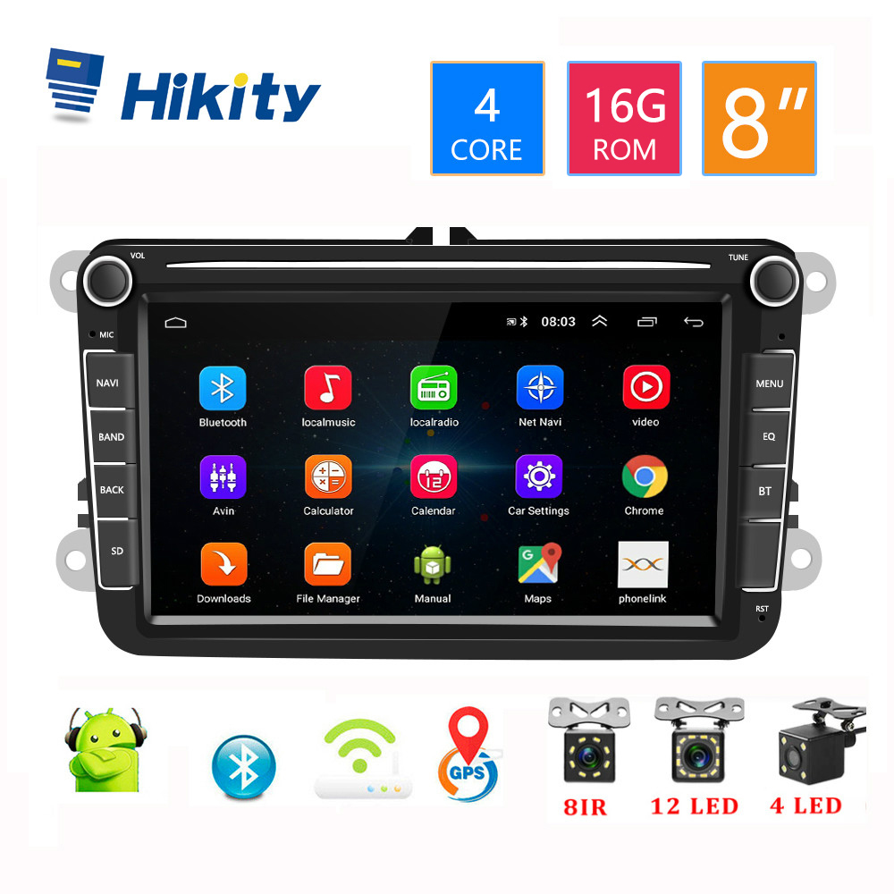 Hikity 8 Android 8.1 Car Multimedia DVD Player 2 Din GPS Navigation Autoradio For Skoda VW Passat B6 Polo Golf 4 5 Touran Seat image