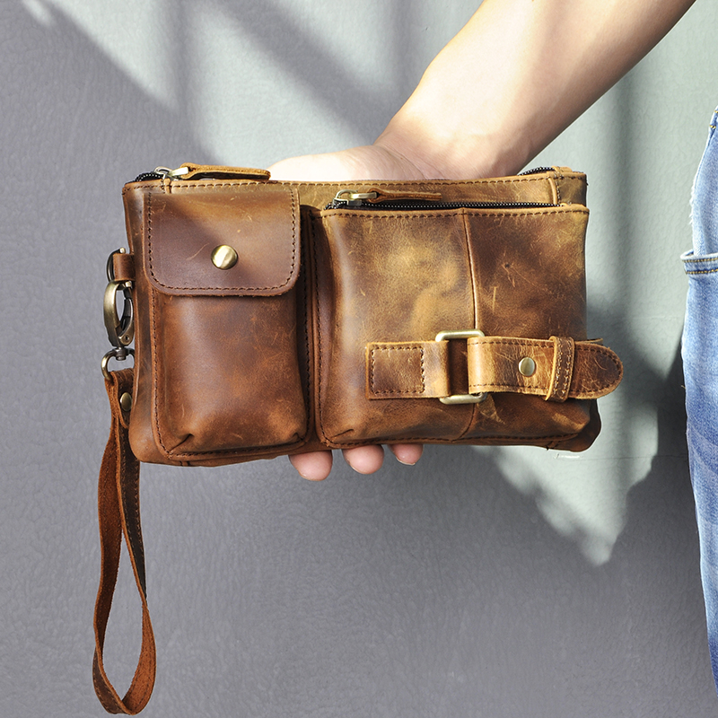 New Hot Sale Quality Leather Men Fashion Travel Fanny Waist Belt Bag Chest Pack Sling Clutch Bag Design Phone Case Male 8135-d