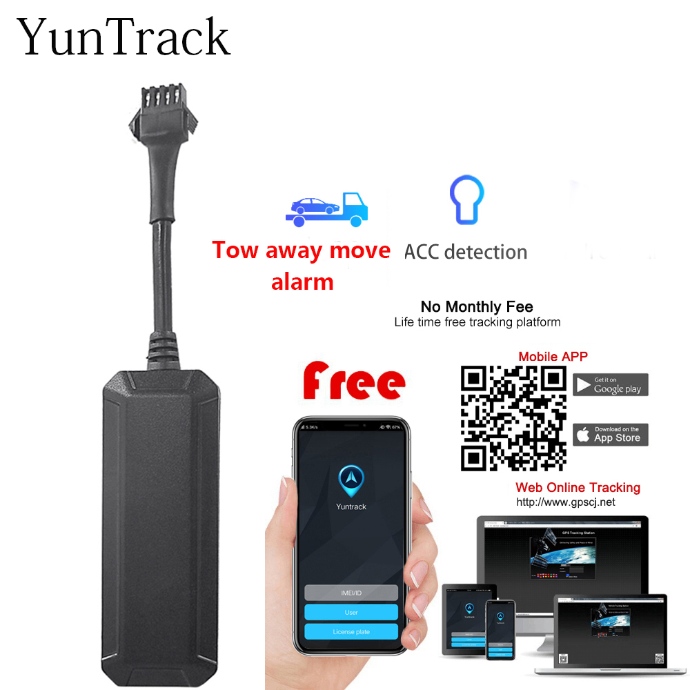 Mini Waterproof GSM GPS tracker Car motorcycle Tow away move alarm vehicle ACC monitor cut off oil real time tracking software