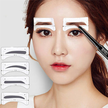 8Pairs Template Eyebrow Drawing Card Stickers Brow Stencil Make Up Grooming Tool