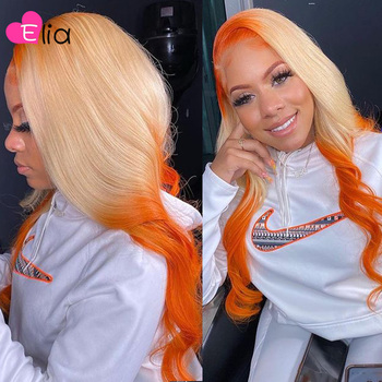 Elia 613 Orange Body Wave Lace Frontal Wig Remy Malaysia Human Hair Wigs 4x4 13x5 HD Middle Part Wholesale Price High Quality image