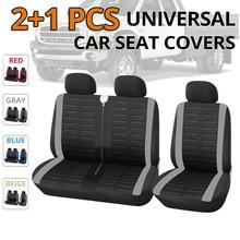 1 + 2 tampas de assento do carro cinza capa para transportador/van, ajuste universal para 2 + 1 seater carro, caminhão acessórios interiores