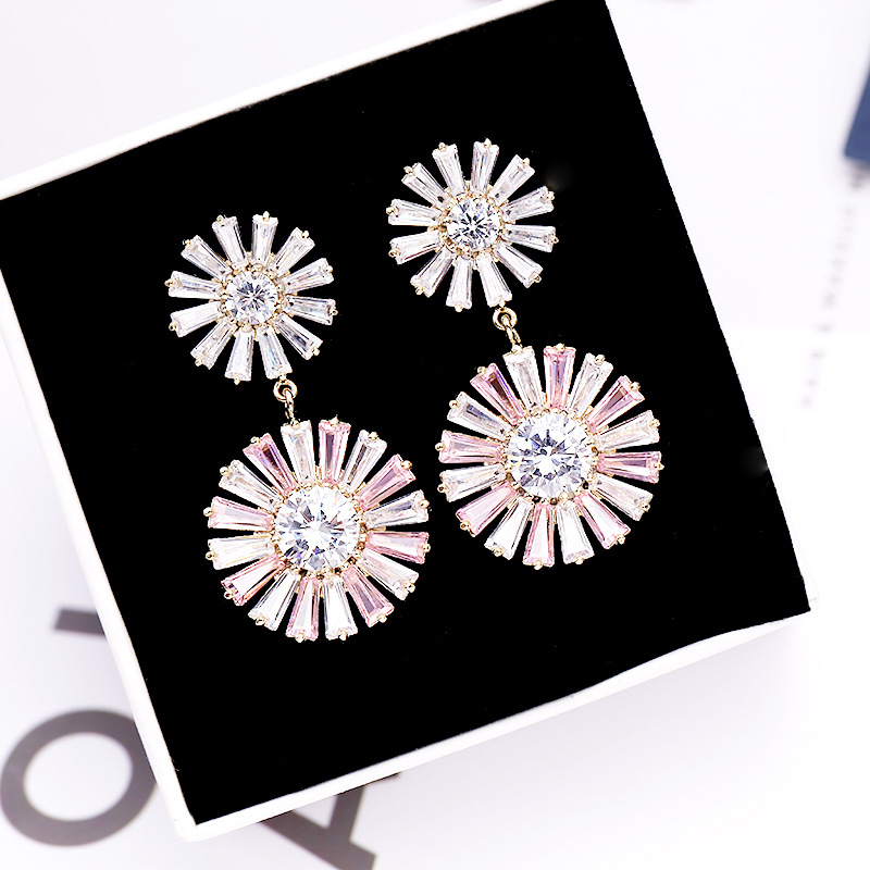 New Delicate Korean Two Color Sunflower Earrings Stud Freshness Fashion Jewelry For Girl Accessories in Stud Earrings from Jewelry Accessories