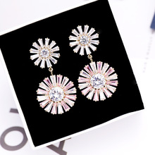 New Delicate Korean Two Color Sunflower Earrings Stud Freshness Fashion Jewelry For Girl  Accessories