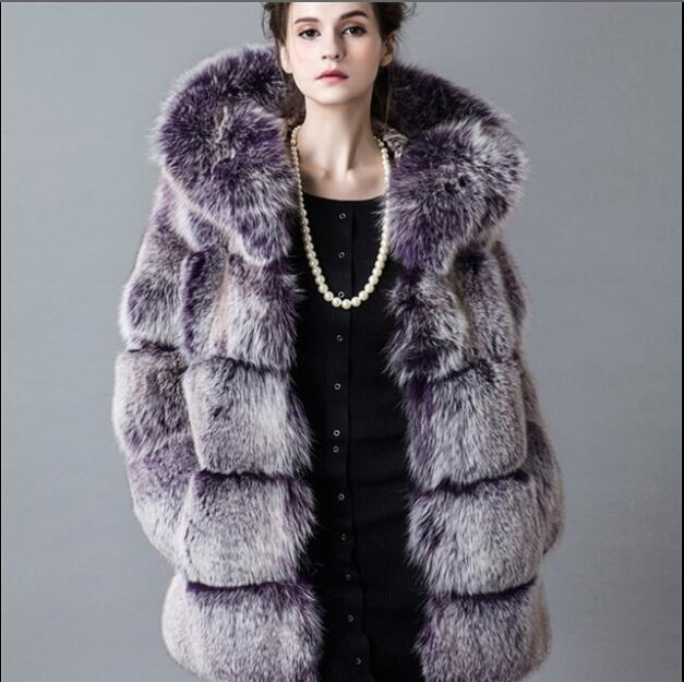 Hot Faux Fur Coat Women Hooded Cap Autumn Winter Sleeveless Jacket Coats Thicken Warm Fake Fox Fur Coat Casual