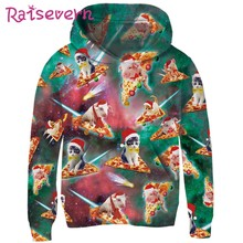 RAISEVERN Xmas Pizza Kat Varken 3D Print Kinderen Hoodies Unisex Meisjes Jongens Sweatshirts 2019 Kerst Herfst Winter Kids Tops(China)