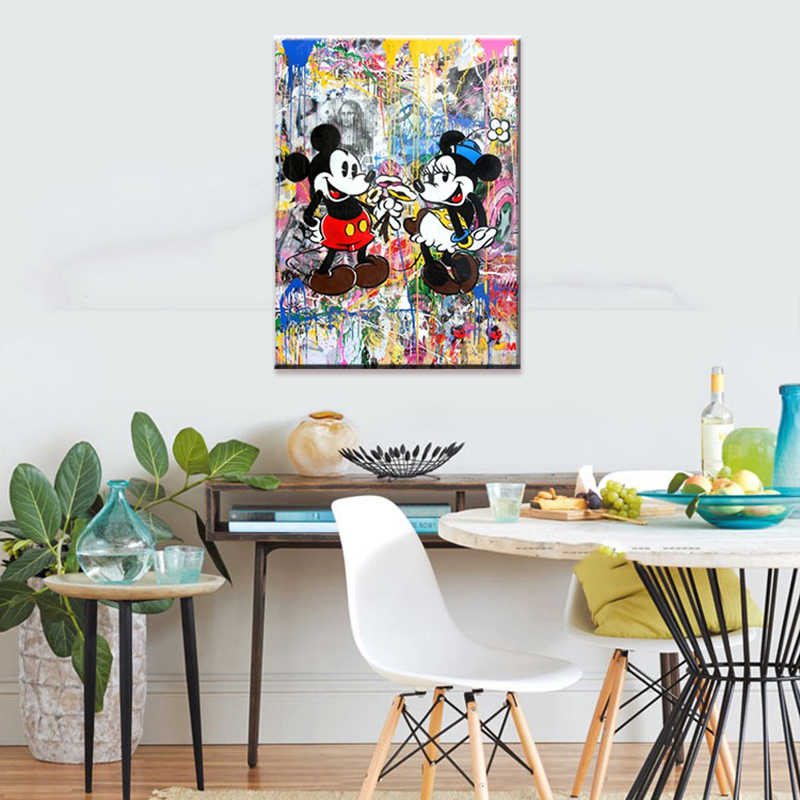 Prints Posters Home Decor Minnie En Mickey Mouse Canvas Graffiti Schilderij Cartoon Rol Wall Art Moderne Slaapkamer Modulaire Foto