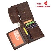 Mrf82 carteira masculina de couro legítimo, carteira masculina compacta com dobra central feita em 100% couro legitimo, estilo casual carteiras