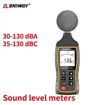 Sndway 30-130 db cyfrowy miernik poziomu dźwięku decybeli hałas urządzenie pomiarowe ręczny przemysł biuro pomiar hałasu miernik hałasu tanie i dobre opinie 30 ~ 130dB sound noise meter decibeis decibel sound meter 30~130dBA 30~130dBC Fast Slow 2 times second 3pcs AAA battery (not include)