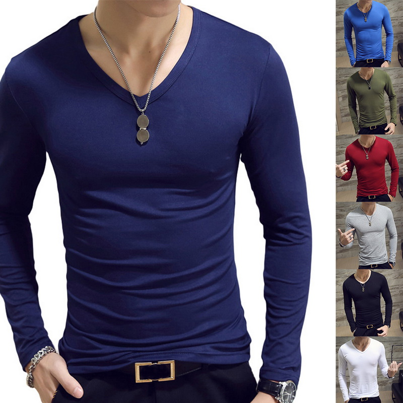 Spring Autumn Men T-Shirt Long Sleeve V-Neck T-Shirt Men Fitness Jogging Solid Tee Basic Running Top Clothing Camiseta Masculina