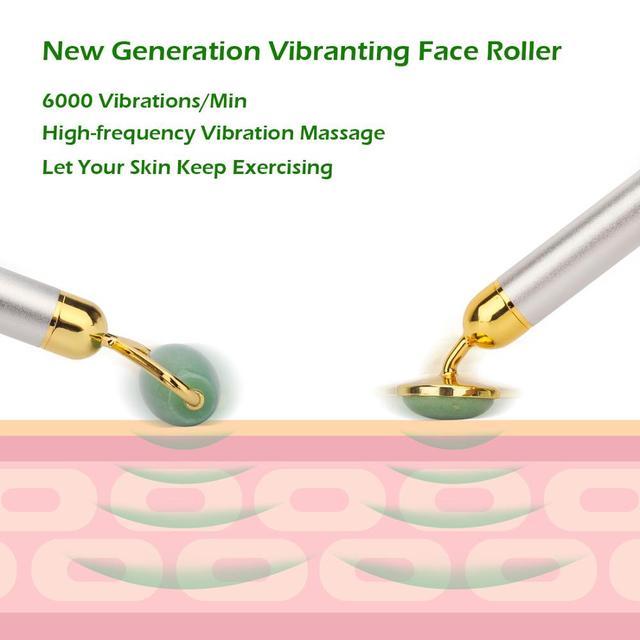 Electric Natural Rose Quartz Jade Roller Face Lifting Real Genuine Vibrating Green Jade Stone Facial Roller Beauty Massage Tool 4