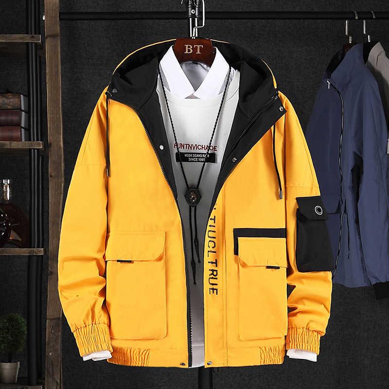 Herfst Mode Mannen Jas Hooded Kraag Casual Uitloper Koreaanse Stijl Streetwear Hip Hop Jassen Mannen Safari Cargo Jassen Uniform