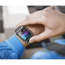 Pasek sportowy dla pasek do Apple Watch przypadku 44mm 40mm iwatch 4 wytrzymała TPU pokrywa ochronna + opaska na zegarek Apple Watch 4 5 6 se akcesoria