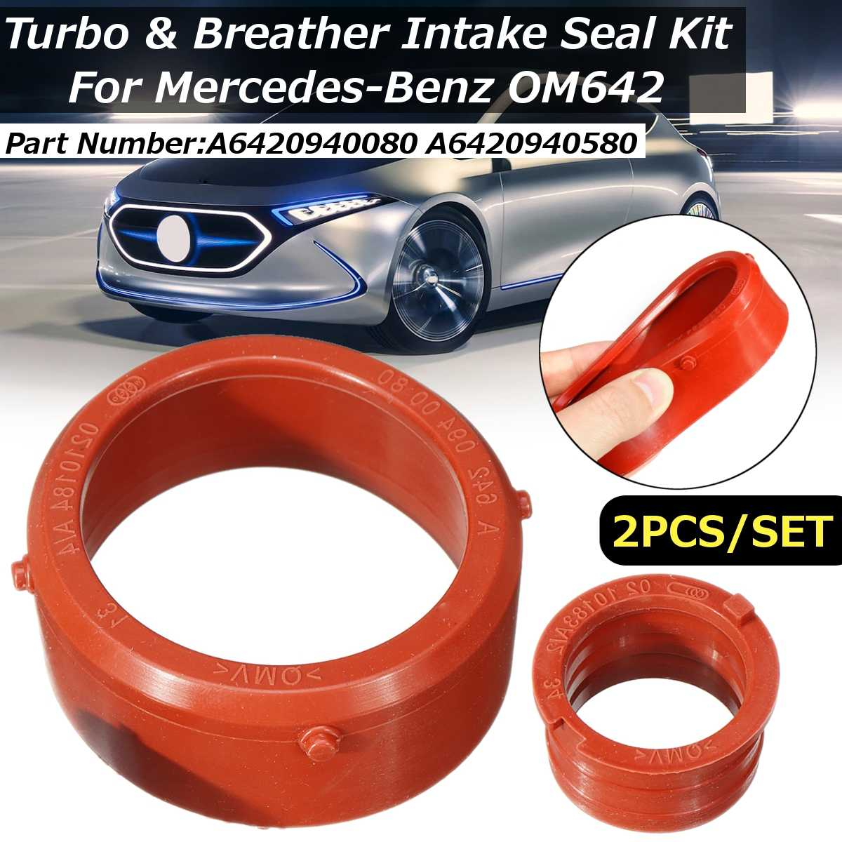 2pcs  Car Engine A6420940080 Turbo Intake Seal & Engine Breather Seal Kit For Mercedes-Benz OM642 Engines Engine Accessories